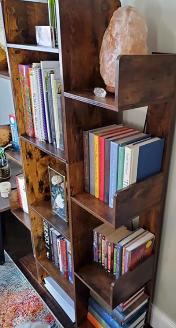 Rich Brown Wooden Bookshelf with Thirteen Shelves
