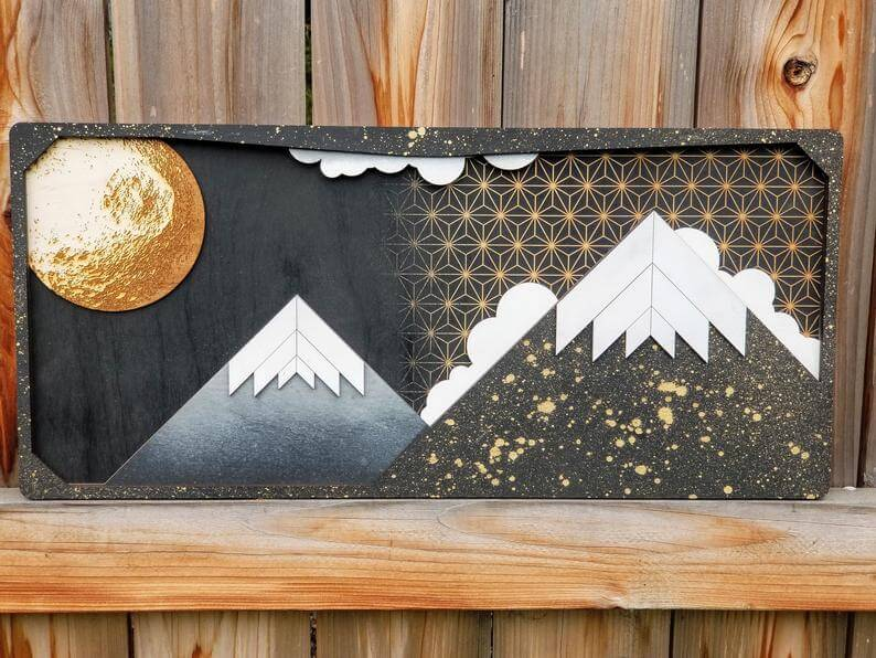 Black & Gold Cosmic Mountain Landscape