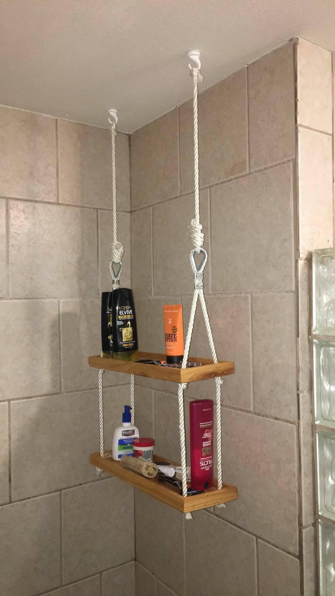 Hanging Rope and Ladder Shower Shelf