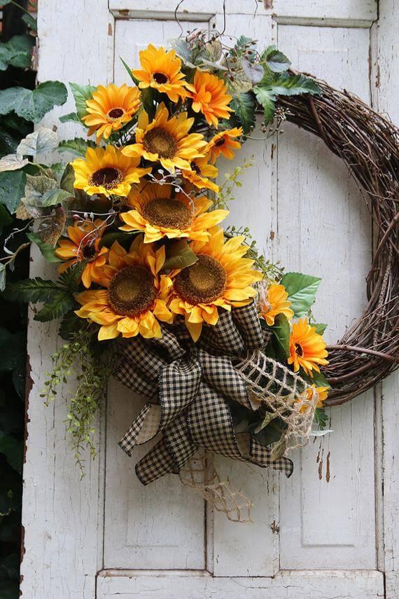 Sunflower and Wicker Wreath