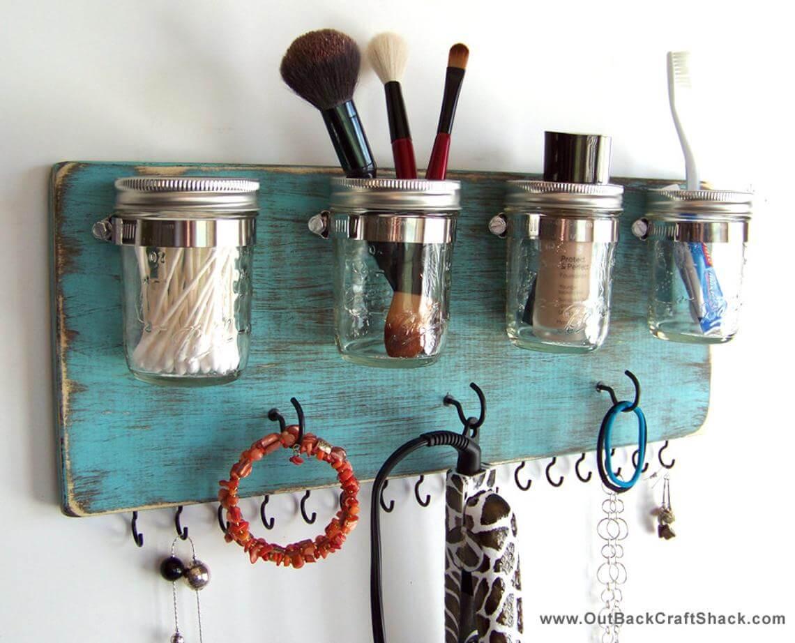 Charming Turquoise Mason Jar and Hook Organizer