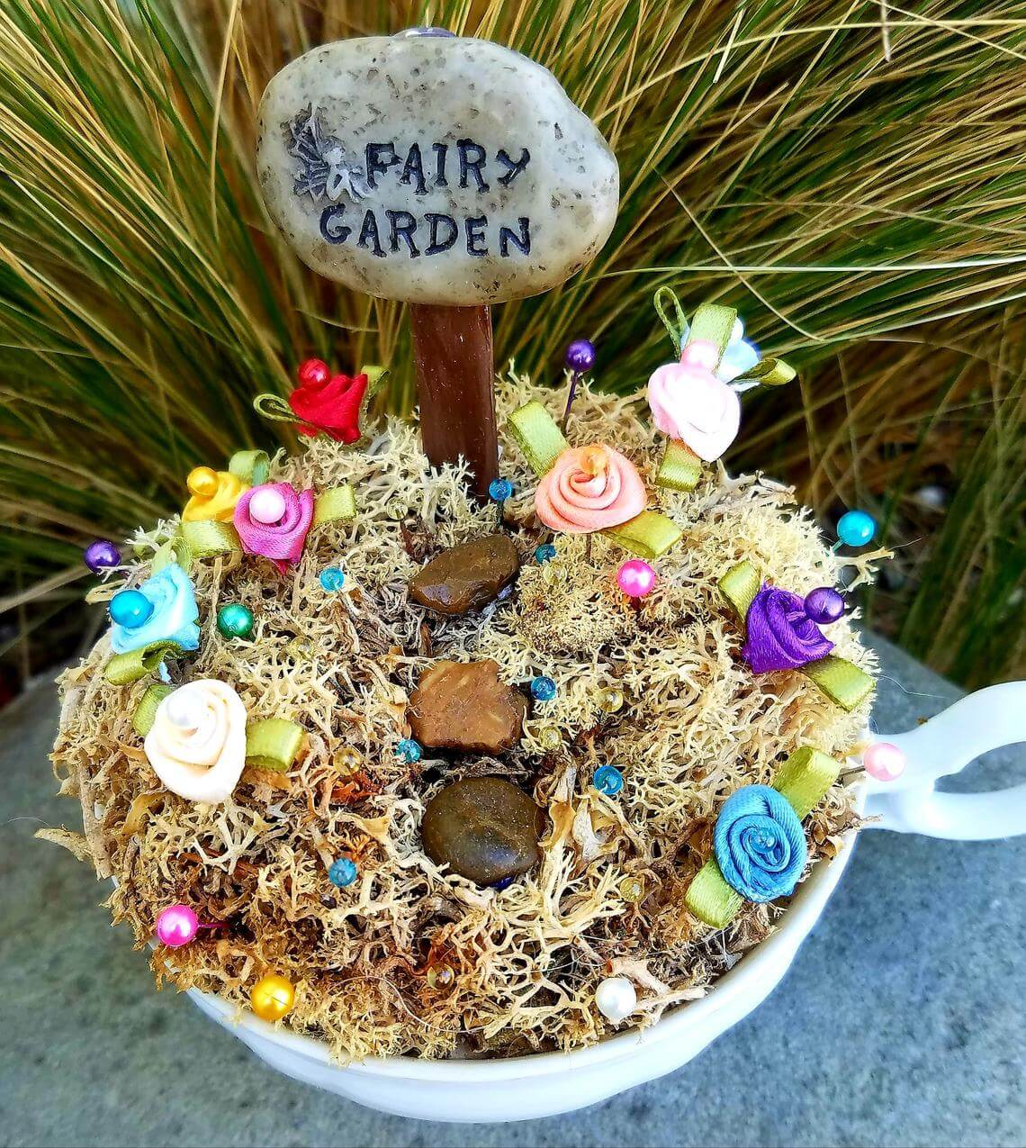 Multicolored Satin Roses Leading to Fairy Garden