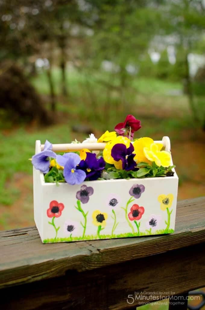 Pansy Painted Tool Trough Flower Box