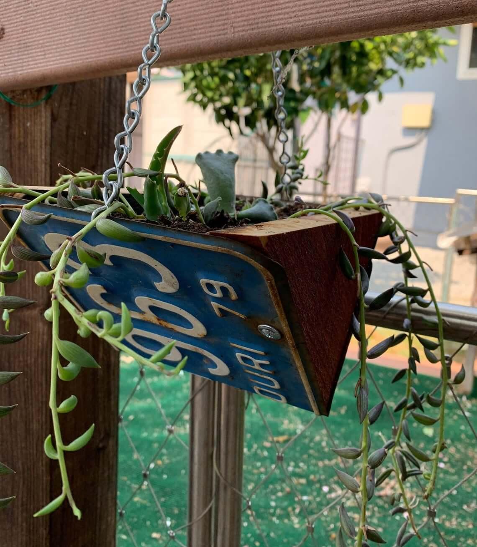 Vintage Repurposed License Plate Triangular Hanging Planter