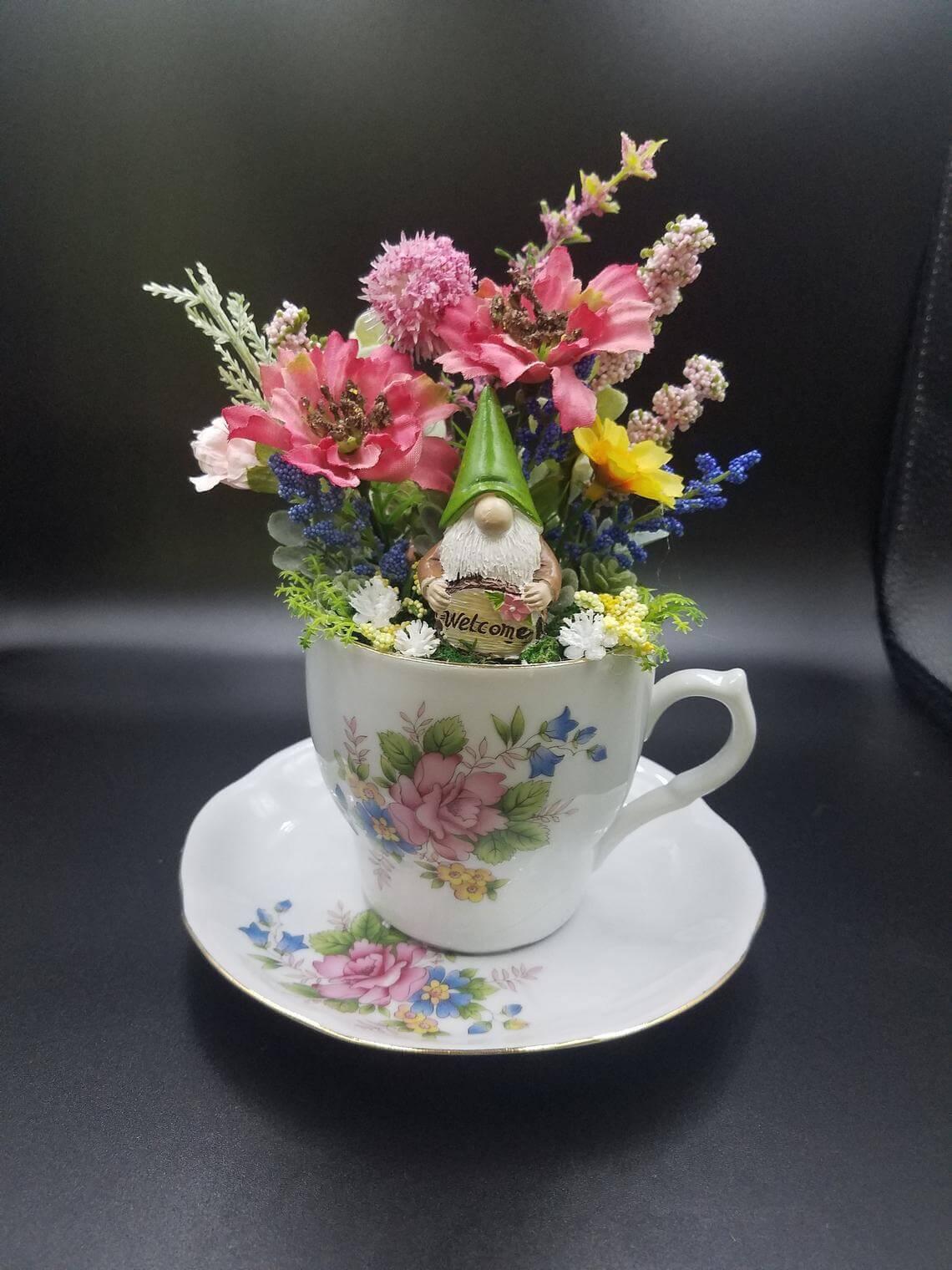 Gnome Teacup Bouquet Floral Arrangement