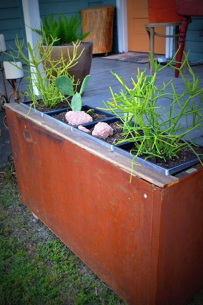 Upcycled Filing Cabinet Container Garden