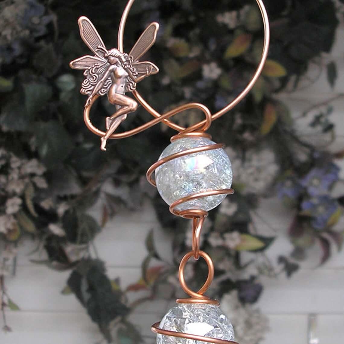 Customizable Mystical Copper & Crackle-Glass Suncatcher