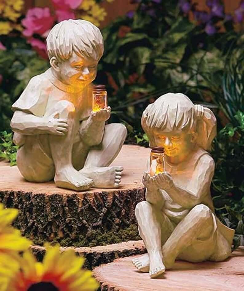 Sweet Children Catching Fireflies Garden Sculptures