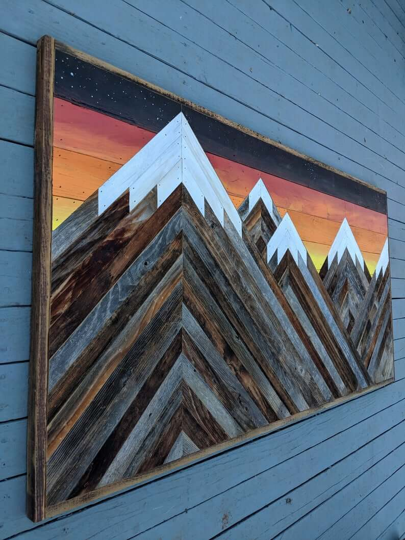 Snow-Capped Mountain Sunset Made from Reclaimed Wood