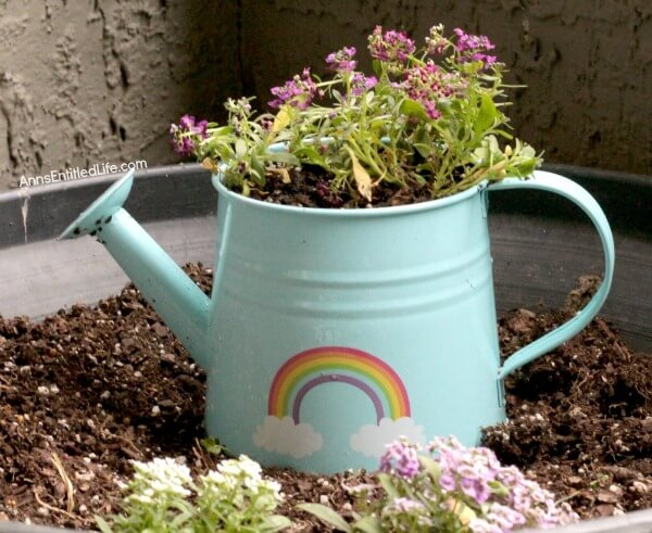 Turquoise Watering Can Flower Container