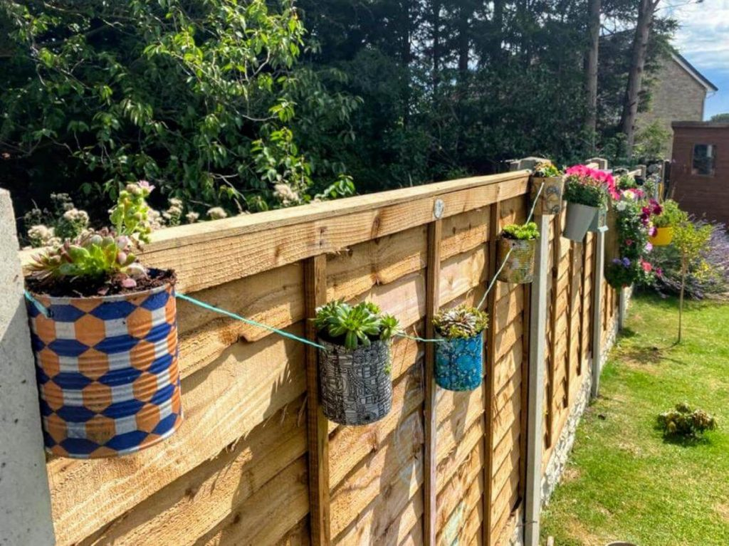 Backyard Fence Coffee Can String of Planters
