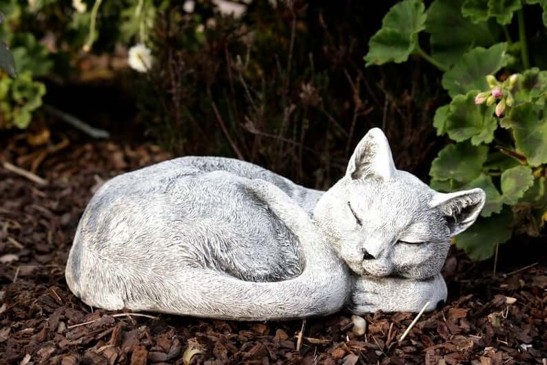 Peaceful and Purrfect Cat Nap Garden Statue