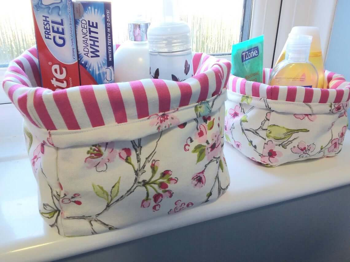 Double-Sided Canvas Totes Bathroom Storage