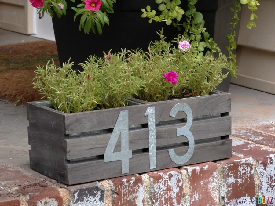 Slatted House Number Flower Box