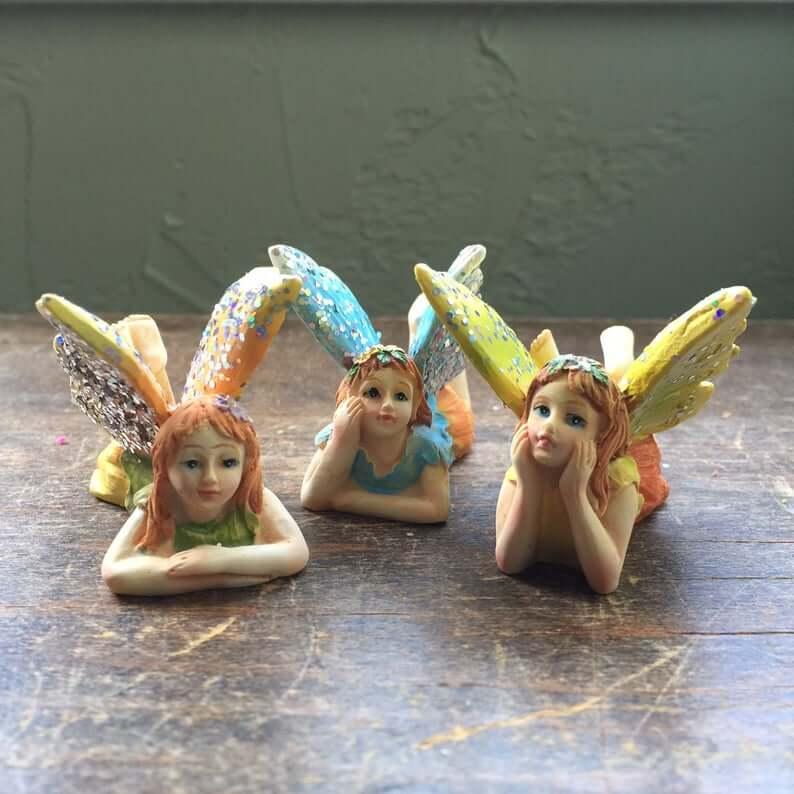 Glittery Winged Trio of Garden Fairies