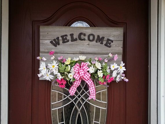 Assorted Flowers with Wooden Welcome Letters