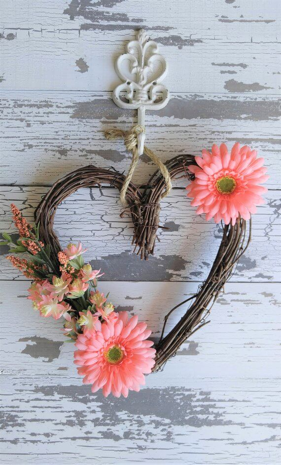 Grapevine Heart Wreath with Pink Flowers