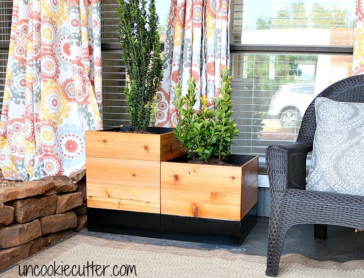 Contemporary Modern Wood Box Porch Planter