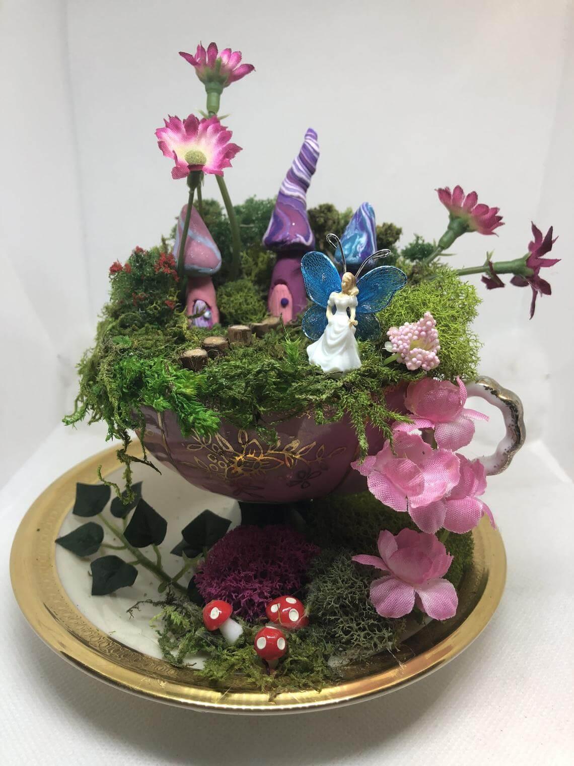 Pretty in Purple Royal Teacup Fairy Garden