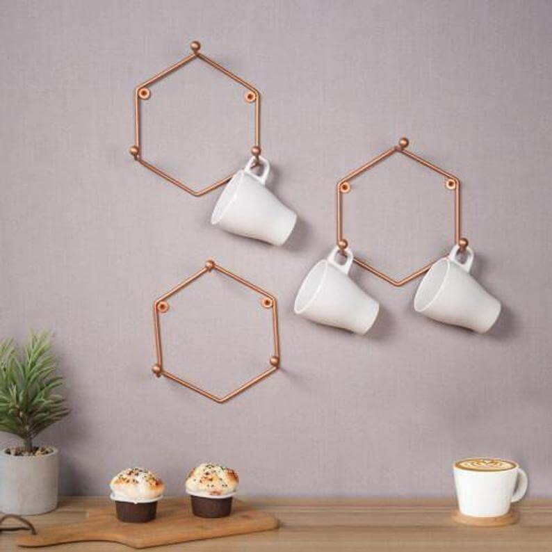 Gorgeous Geometric Hexagon Copper Coffee Mug Holder