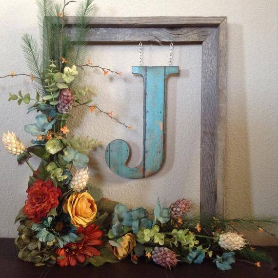Personalized Letter Wreath in Frame