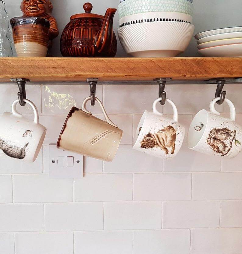 Under-the-cabinet Coffee Mug Holder with Industrial Hooks