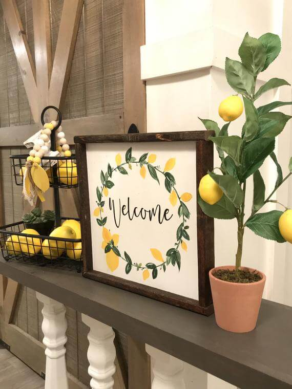Lemon-Focused Decorations with Basket and Sign