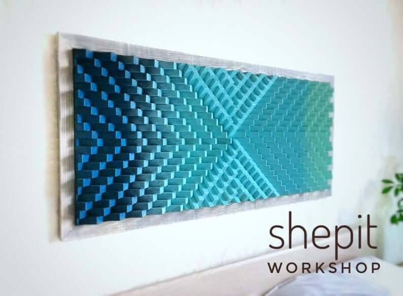 Blue Kaleidoscope Wooden Wall Sound Diffuser