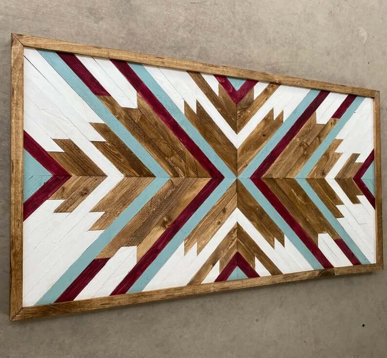 Geometric Arrows Reclaimed Wood Wall Art Design