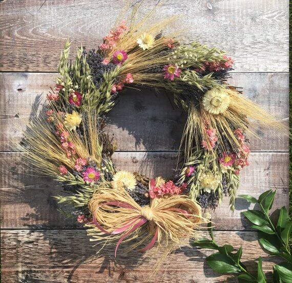 Wispy Dried Flowers Wreath with Bow