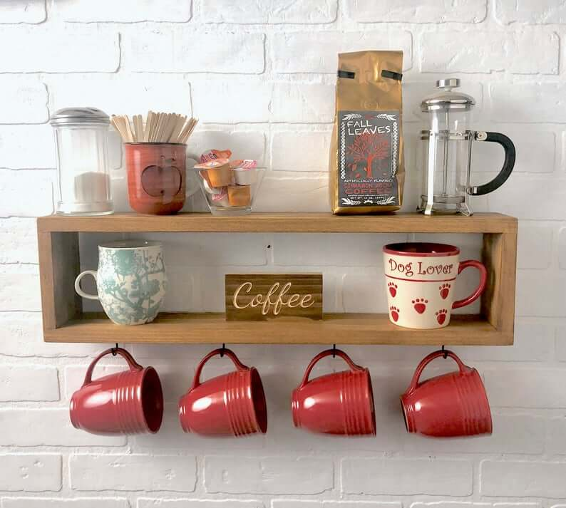 Coffee Central Wooden Shelf with Hooks