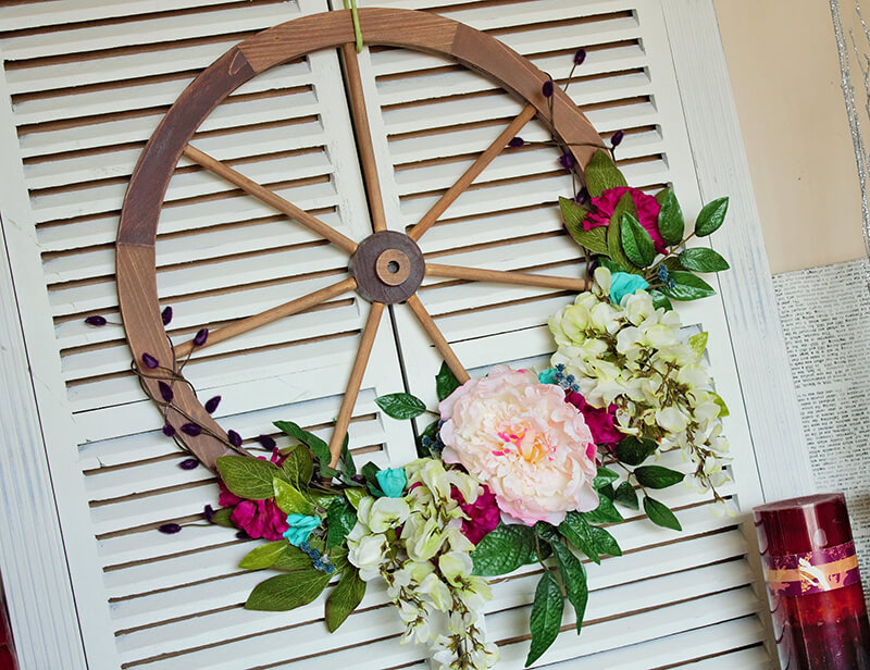 Wagon Wheel Wreath with Various Flowers