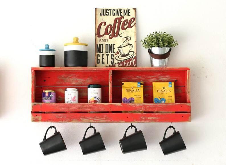 Vintage Red Wooden Shelf with Mug Hooks