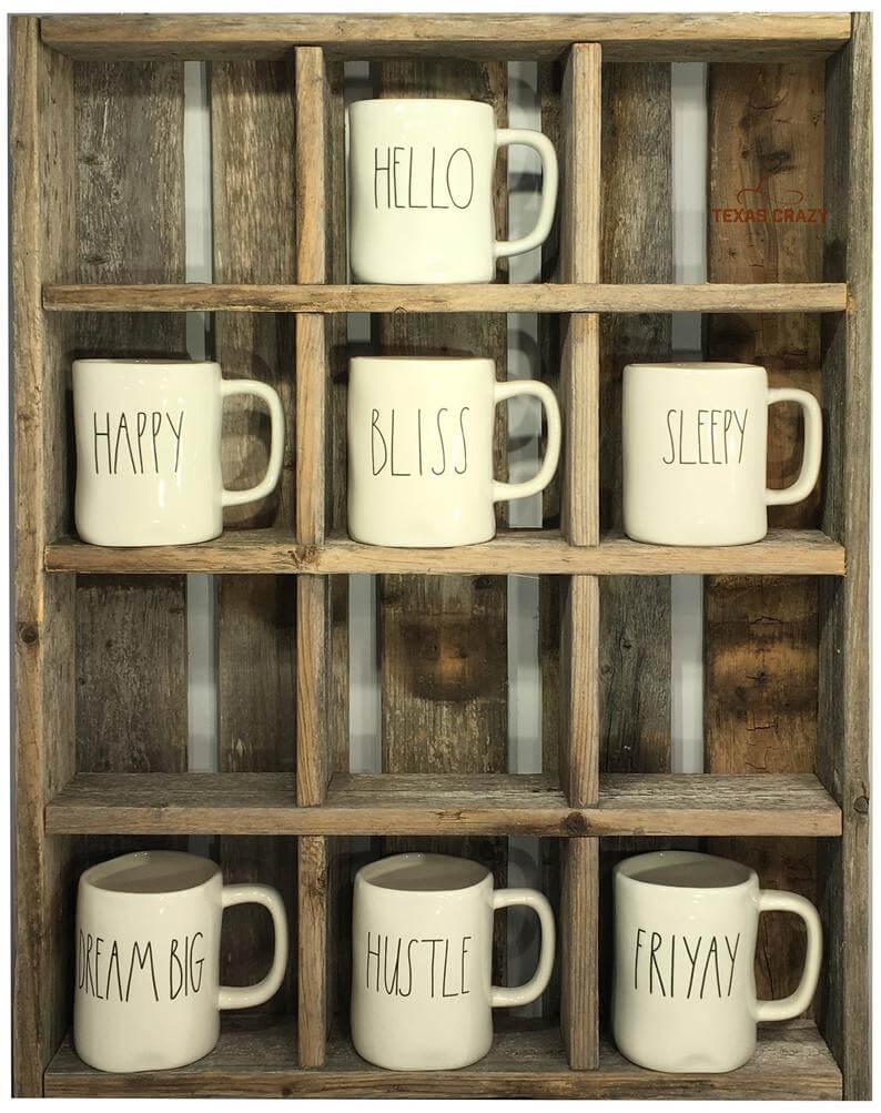 Reclaimed Wood Custom Coffee Mug Cubby System