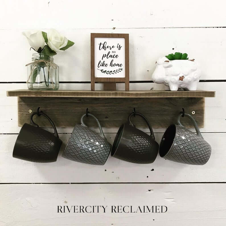 Rustic Reclaimed Wood Traditional Shelf with Hooks