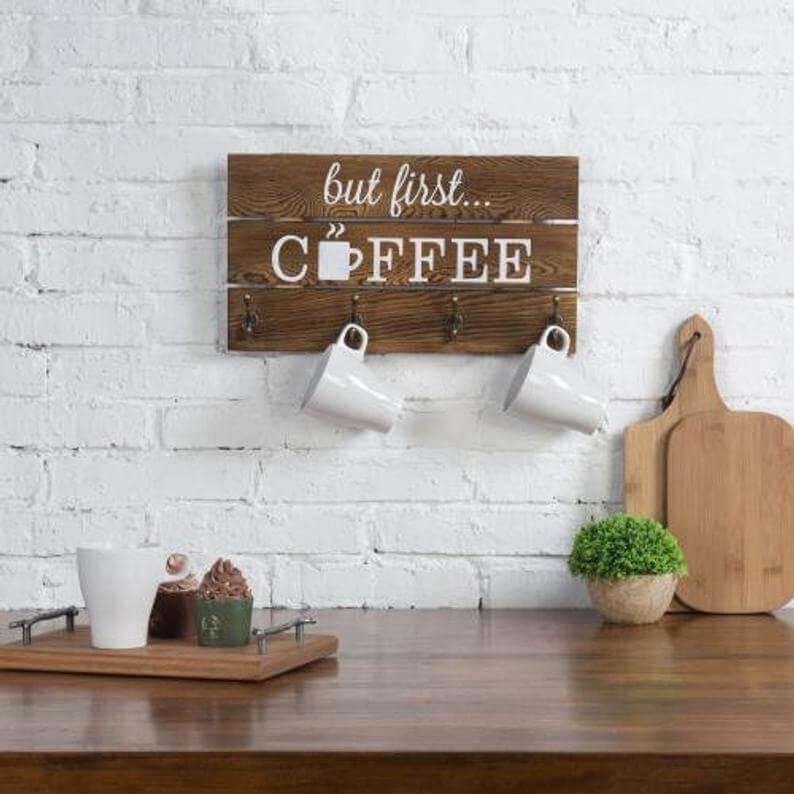 Funny Sign with Four Mug Hooks