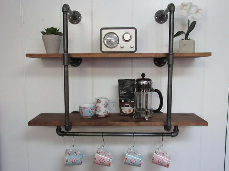 Industrial Two-tiered Shelf with S Hooks