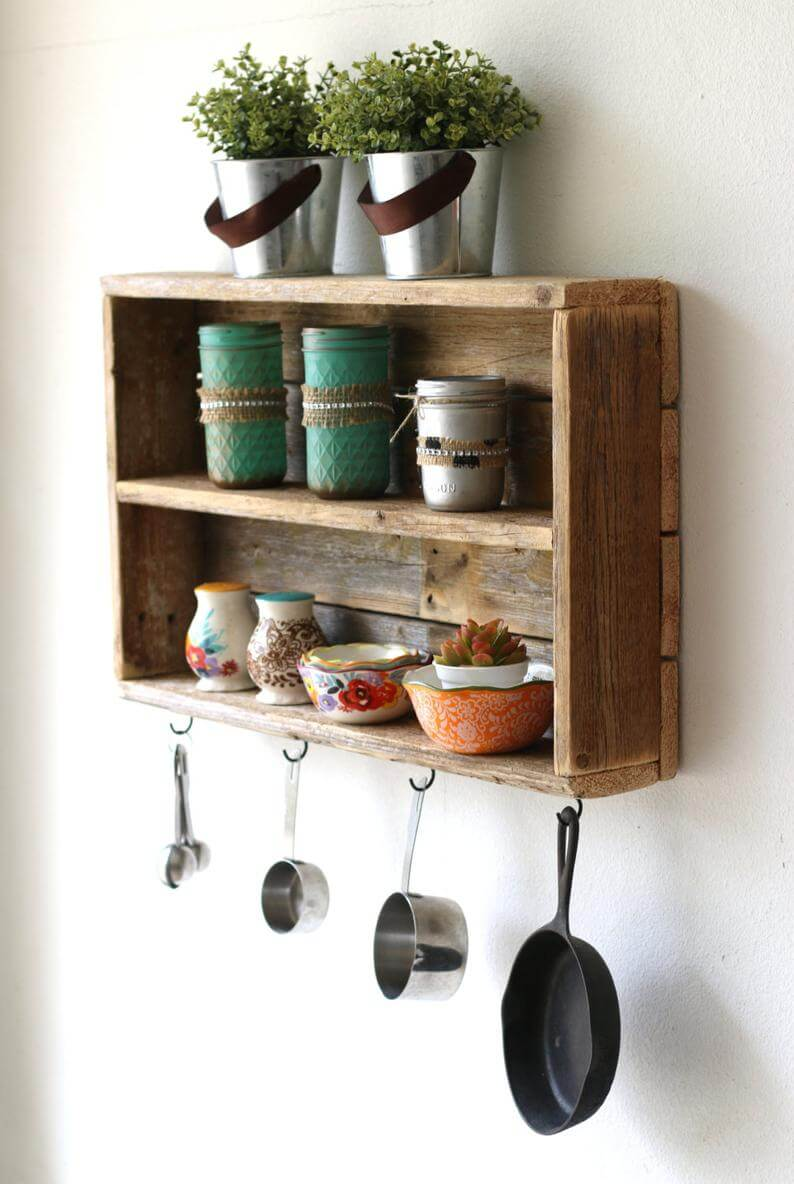 Old Fashioned Soda Crate Shelf with Hooks