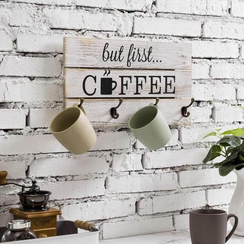 Distressed White Coffee Sign with Mug Hooks