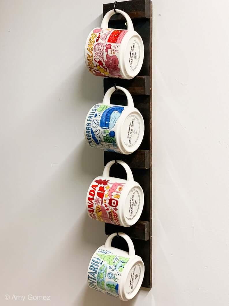 Wood Pallet Strip Coffee Mug Display