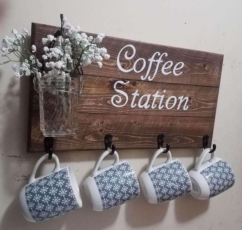 Mason Jar Vase Coffee Station Mug Holder