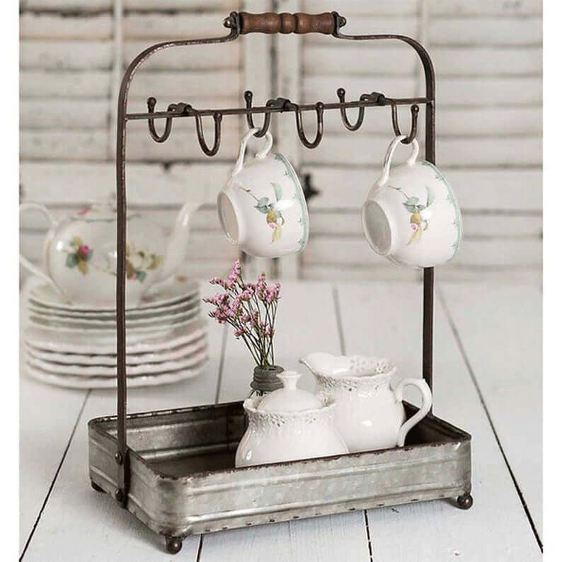 Portable Tabletop Mug Hook Stand with Tray