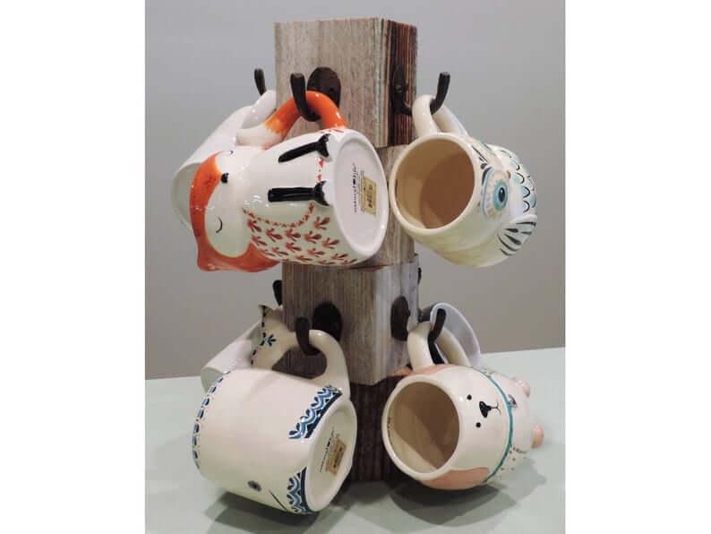 Stacked Block Rustic Mug Tree