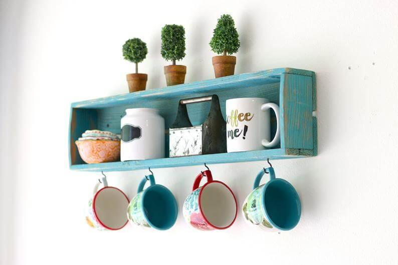 Distressed Turquoise Wooden Box Mug Holder