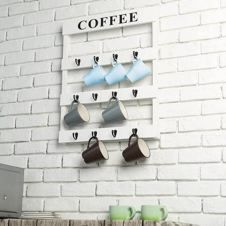 Modern Farmhouse White Pallet Mug Organizer