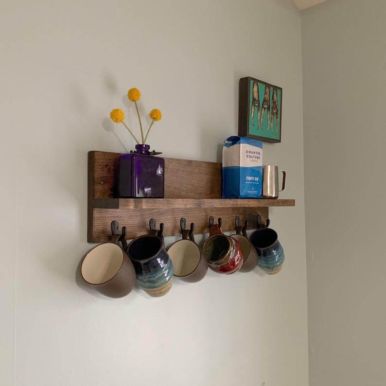 Long Wooden Shelf with Mug Hooks