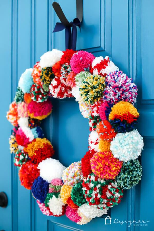 Fluffy and Festive Pom Pom Wreath
