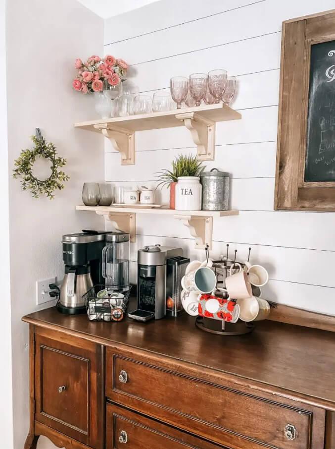 Corner Coffee Center with Storage Shelves