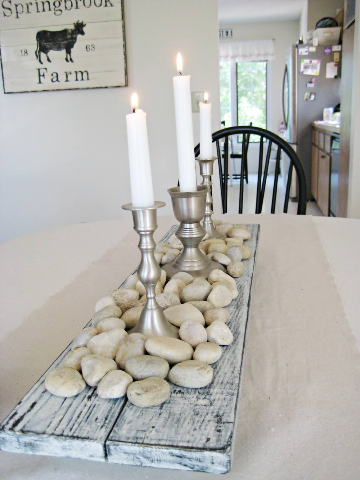 Double Distressed Wooden Plank Centerpiece Base