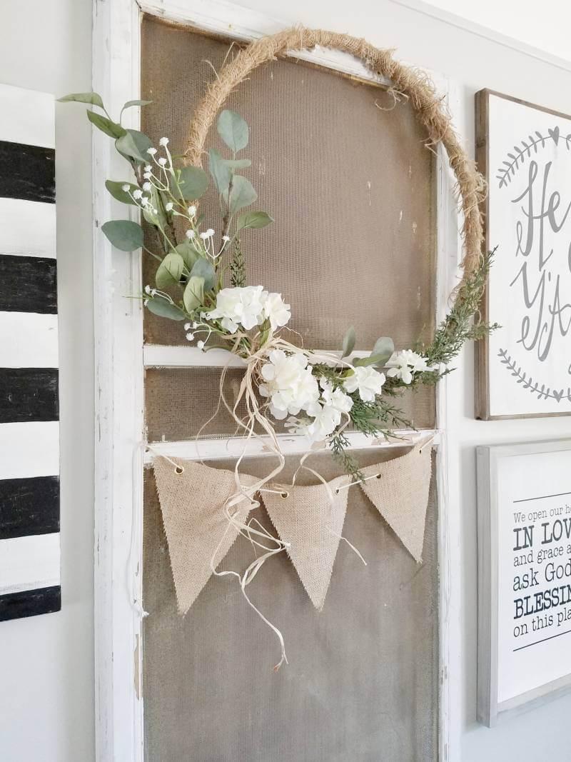 Oversized Twine-Wrapped Hoop Wreath